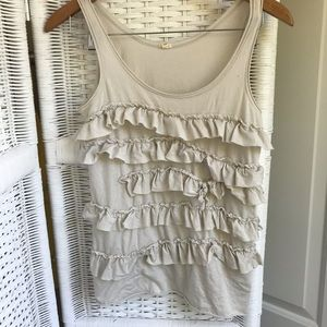 J Crew ruffle tank top - pale gray - XS